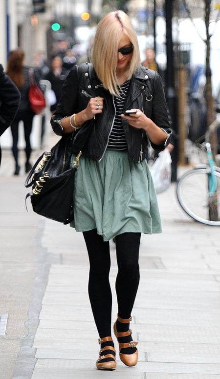 Loving Fearne Cotton's Vivienne Westwood tan leather buckle shoes with black leather moto jacket combo