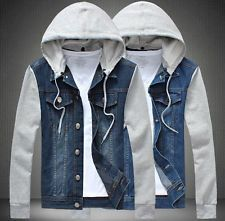 Fashion Men's Jean Jackets Hoodie C...