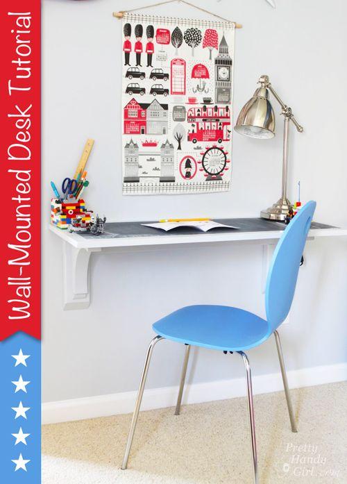 Wall-Mounted Desk Tutorial   Pretty Handy Girl