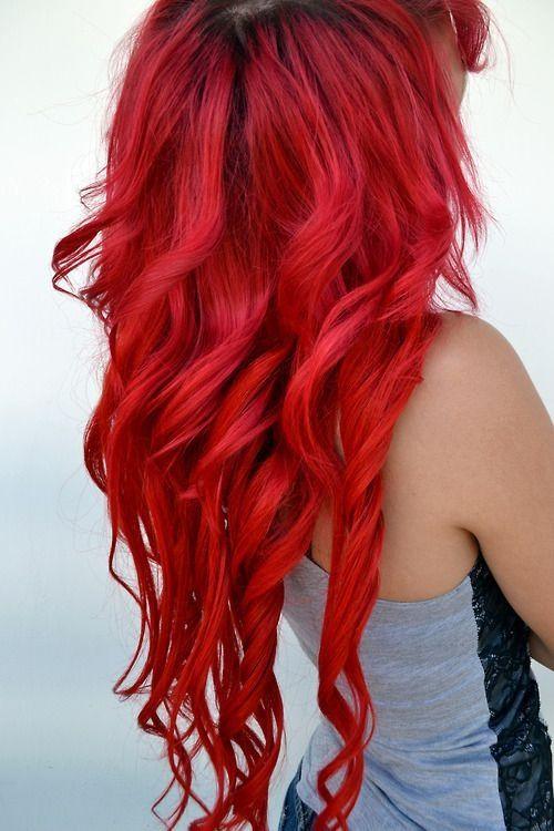 Long bright red hair