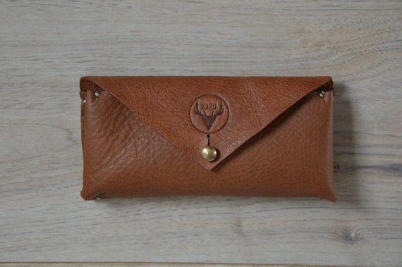 Handmade leather sunglass case
