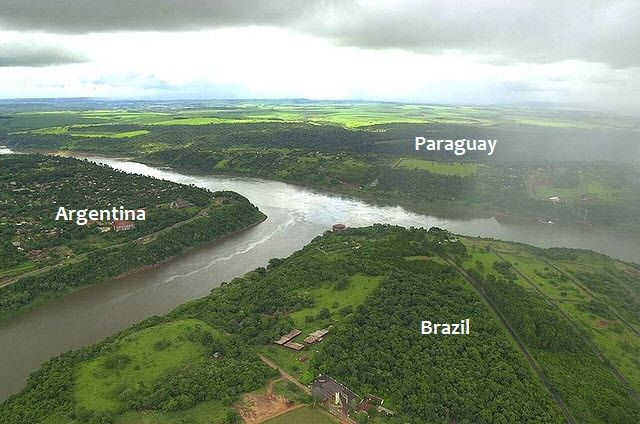 """Triple Frontier: The Tri-Border Between Argentina, Brazil and Paraguay"" -- ""...this in particular is formed naturally by the convergence of two rivers - the Paraná River and the Iguazu River."" Click through to see the monuments in each country and the amazing Iguazu falls."