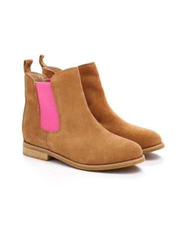 Joules Girls Chelsea Boots, Tan.                     Add a pop of colour to your little one's feet with these Chelsea boots with a twist. Perfect for adding a little extra kick to outfits.