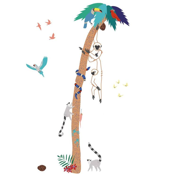 Met deze tropische palmboom muursticker van Mimilou Paris  maak je ook de piratenkamer helemaal in stijl af.