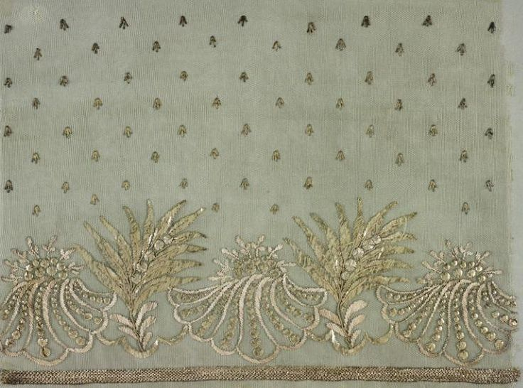 Jean-François Bony, embroidery sample for a dress hem, silk tulle embroidered with silver threads and bullion, 1804-1815