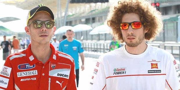 Two Italian rider Valentino Rossi (left), and Marco Simoncelli