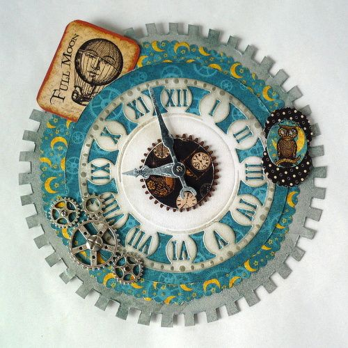 card - steampunk Graphic 45 papers - clock, gears,