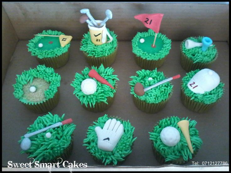 Golf Cupcakes  (Bloemfontein, ZA)  For more info or orders, email SweetArtBfn@gmail.com, call 0712127786 or WhatsApp:  0646446495