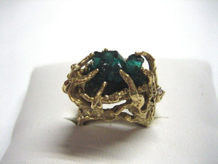 VINTAGE 14K YELLOW GOLD & GREEN CRYSTAL WOMEN'S DRESS COCKTAIL RING SIZE 6.25
