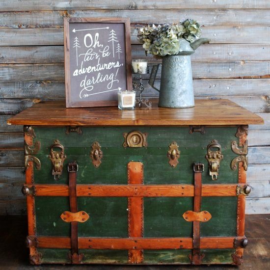 An old steamer trunk gets a wood top and is turned into a coffee table!