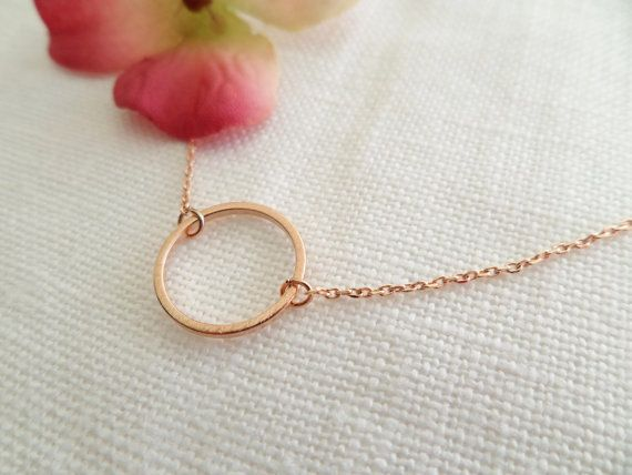 Rose Gold Karma Infinity Eternity Circle Ring Necklace...dainty handmade necklace, everyday, simple, birthday, wedding, bridesmaid jewelry on Etsy, $16.00