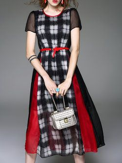 Black Short Sleeve A-line Crew Neck Midi Dress