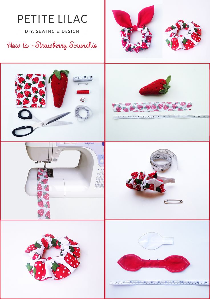 DIY How to make a strawberry scrunchie & sew bunny ears. Step by Step Tutorial. (Handmade)