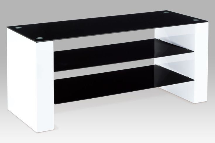 ATV-2010 WT TV stolek 115x45x50 cm, vysoký lesk bílý / černé sklo