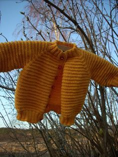 Free Pattern: Top Down Seamless Raglan Baby Sweater (Garter Ridge Version) by Carole Barenys