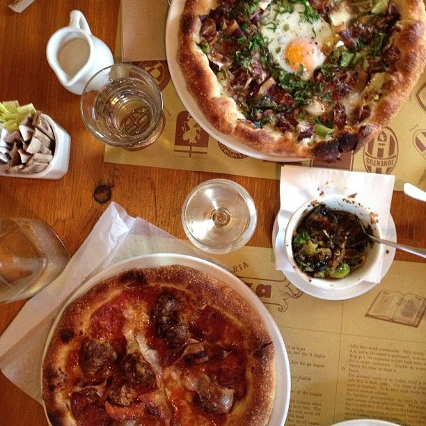 PIZZERIA MOZZA - 641 N HIGHLAND AVE, LOS ANGELES, CA 90036 / (323) 297-0101   In a handsomely rustic storefront, Nancy Silverton, Mario Batali, and Joe Bastianich what is, on its best days, LA's top pizza.