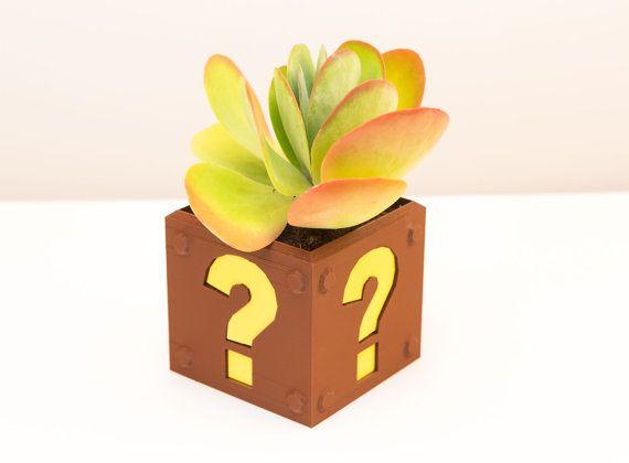 8Bit Question Block Planter by Pixil3D on Etsy, $80.00