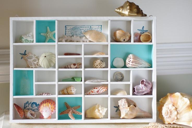 Beach Decor Vintage Seashell Shadow Box. $78.00, via Etsy.
