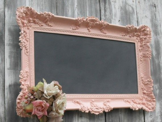 HOLLYWOOD REGENGY WEDDING Chalkboard Pink Baroque Ornate Girl Nursery French Country Kitchen 36inx21in Shabby Chic Cottage Romantic