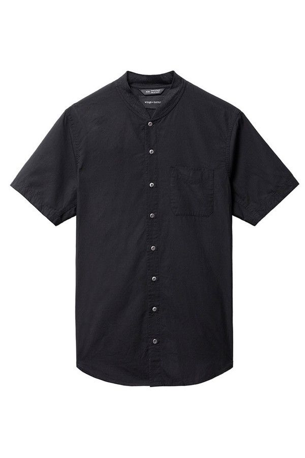 Wings + Horns Knit Collar S/S Shirt I Black