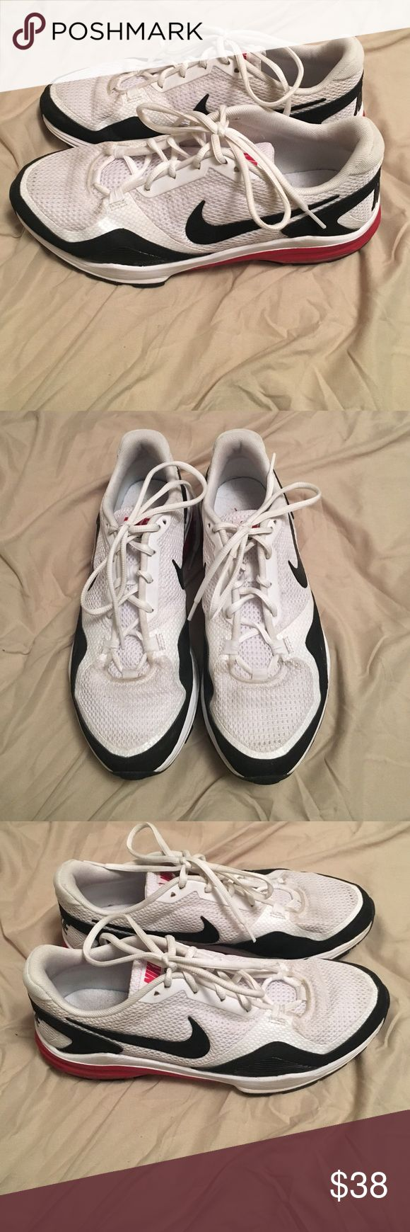 Red and white Nike Lunar Edge Red and white Nike Lunar Edge shoes that are light and great for athletic training. Size 10, and worn a few times. Great looking shoe and In very good condition. Nike Shoes Athletic Shoes
