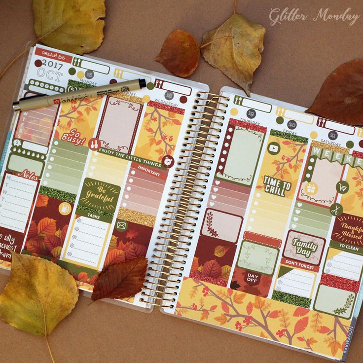 GlitterMonday printable digital planner stickers sticker pack set instant download planner girl addict fall october thanksgiving