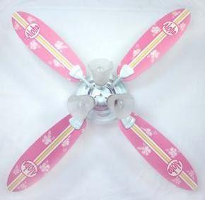 Pink Surfer Girl Ceiling Fan