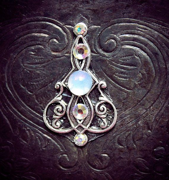 White Serpent Bindi, iridescent glass cabochon, art nouveau, fairy, fae, magic, fantasy, bellydance, pagan, goddess, wicca, tribal fusion on Etsy, $16.50