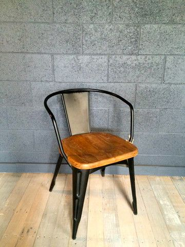 Steel and wood dining chair