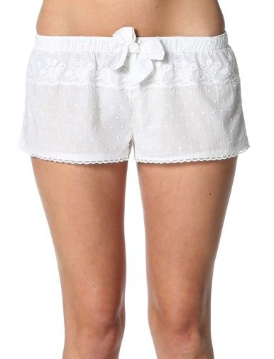 White Swiss Dot Shorts With Lace