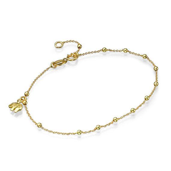 Oro de 18 K cadena de oro pulsera de elefante bola cadena