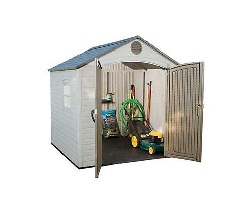 Get your act together with this great-looking 8 x 7.5 ft garden shed. This attractive shed is large enough to store your lawnmower and large garden equipment and also comes with shelving and a pegboard to organize your smaller tools and supplies. With a Lifetime garden shed, youll never lose your favorite garden spade again! Youll appreciate the no painting, no rusting design of Lifetimes storage sheds. Our garden sheds are UV-protected to resist fading and cracking, so theyll look good as…