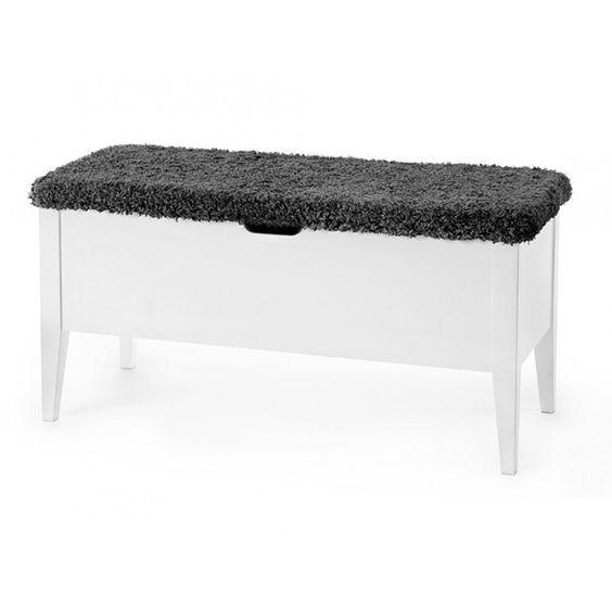 Klinte bänk 90 cm vit med grå fårpälsimitation