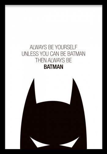 Sort texttposter for børn med Batman. Plakater online