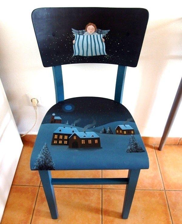 V+zimním+kabátě+ručně+malovaná+židle