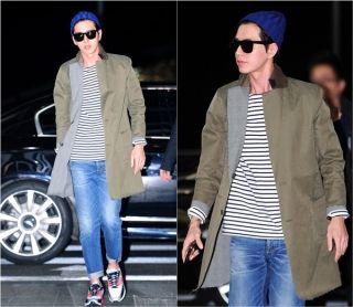박해진, 중국 예능 '쾌락대본영' 출연…청바지와 롱코트 공항 패션 화제