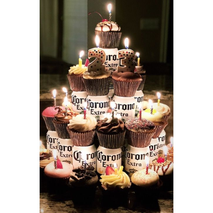 Beer Cupcake Tower I Made For My Husband S Birthday 24 Cans And