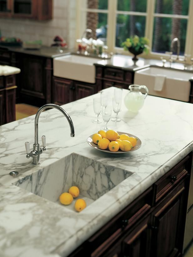 Marble Sink Kitchen : the sink basin! Marble Kitchen Countertops HGTVRemodels.com KITCHEN ...