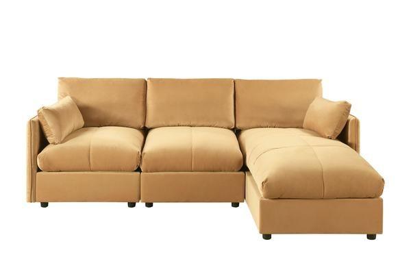 Nour Contemporary Velvet L Shape Sectional Sofa Sectional Sofa Modern Sofa Sectional Large Sectional Sofa