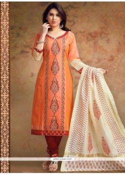 Orange Print Work Chanderi Churidar Designer Suit