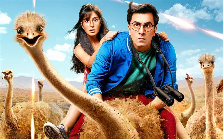 Descargar fondos de pantalla Jagga Jasoos, 2017, Katrina el kaif, Ranbir Kapoor, Jagga, Shruti, Cartel, promo, nuevas películas