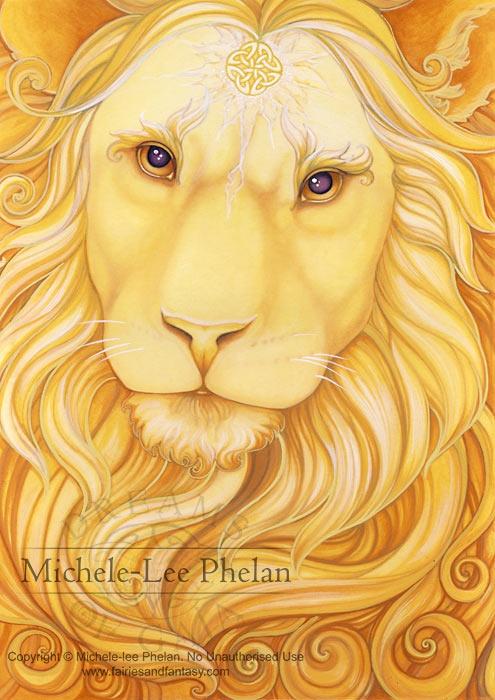 Art Print - Sol by Ravynne Phelan-Ravynne, Phelan, lion, golden, yellow, celtic, sun, god,Art print, fine art print, print, archival, giclee, giclée