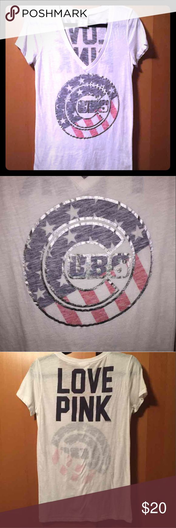 Victoria Secret Pink Chicago Cubs T-Shirt Victoria Secret Pink Cubs Shirt Not sold in stores anymore  Great condition PINK Victoria's Secret Tops Tees - Short Sleeve