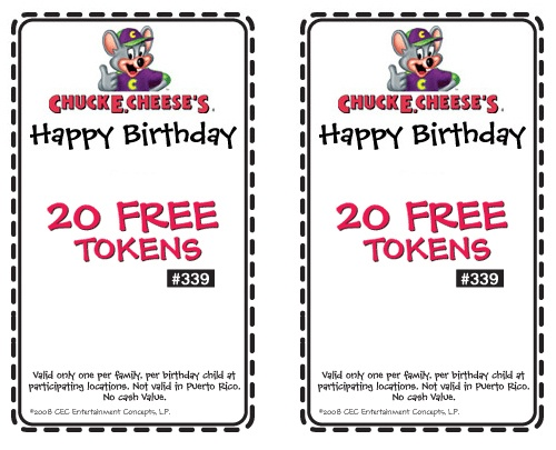 chuck e cheese coupons for tokens