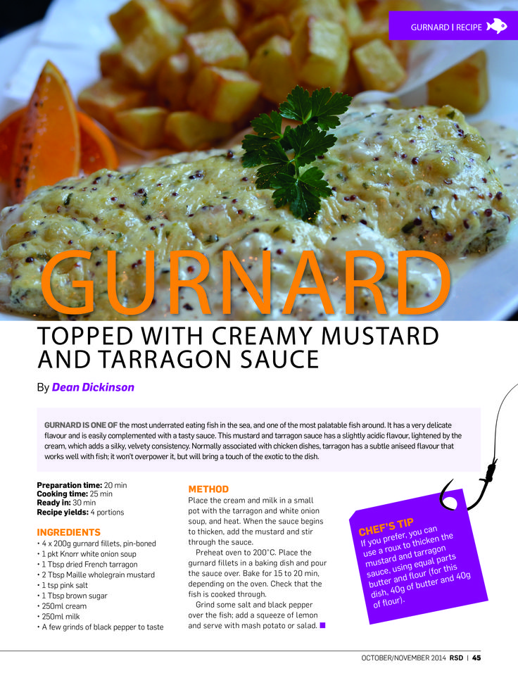 We're taking a look back at 2014 – a truly great year of #RSD! Gurnard is one of the most underrated eating fish in the sea, and one of the most palatable fish around. This gurnard topped with creamy grain mustard and tarragon sauce recipe was in the October – November issue of #RSD so you probably still remember how great it tasted!