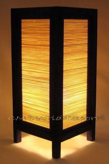 *-ASIAN DECOR DESK / TABLE / BEDROOM BAMBOO LAMPS - **WOOD BLIND LAMP LIGHT** in Home & Garden | eBay
