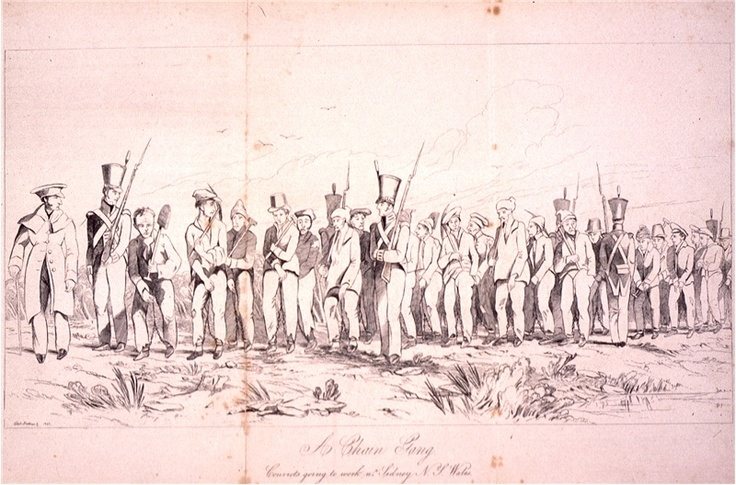 Chain gang: convicts going to work near sydney NSW by Edward Blackhouse c.1842. Taken from, 'Charles Dickens' Australia. Selected essays from Household Words 1850-1859. Book One: Convict Stories'