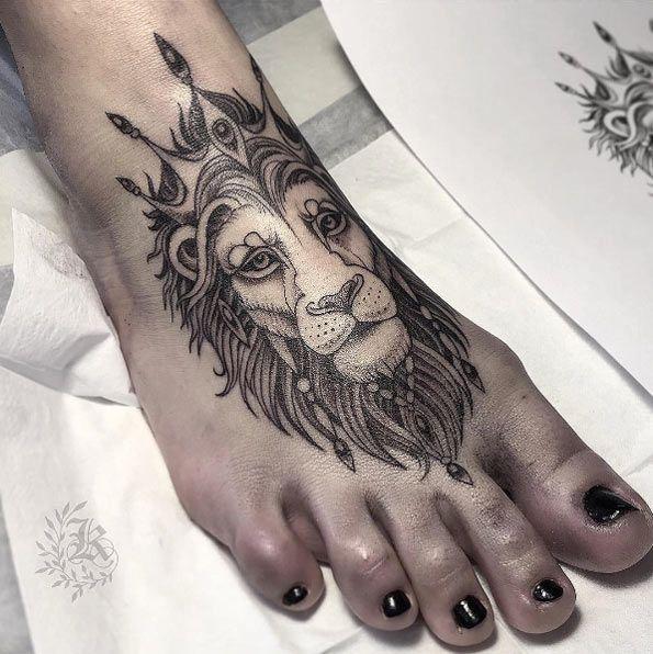 Best Animal Tattoo Designs - Lion tattoo on foot by Kristina Darmaeva...