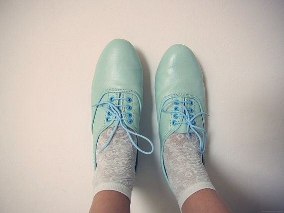 oxfords: Baby Blue, Green Shoes, Mint Green, Fashion Vintage, Oxfords Shoes, Blue Shoes, Pastel Colors, Handmade Leather, Oxfords Flats