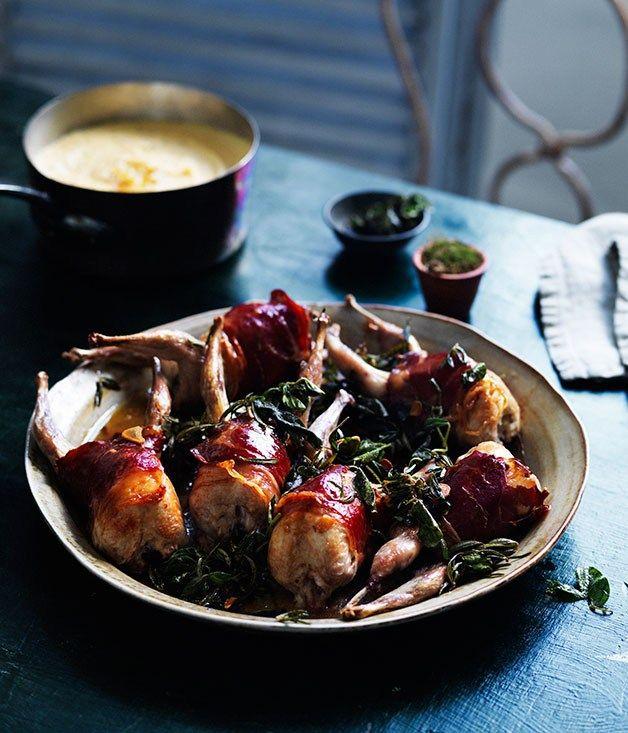 Roast quail with polenta recipe - Gourmet Traveller